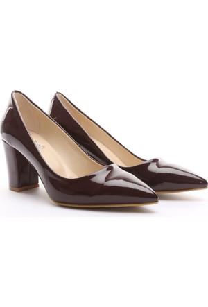 B.F.G Polo Style Düz Kalın Topuk Sitiletto Ayakkabı Bordo