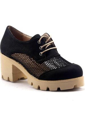 Etol Kalın Topuk Fileli Günlük Bayan Ayakkabı