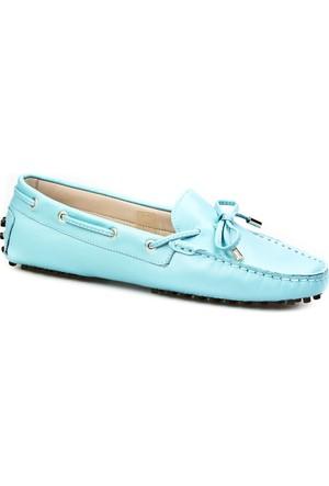 Cabani Loafer Günlük Kadın Ayakkabı Mavi Deri