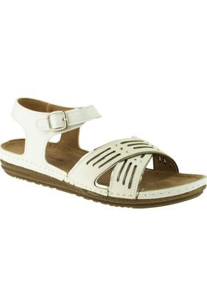Jump 14767 Çapraz Bant Beyaz Kadın Sandalet