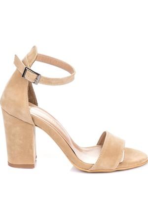 Pembe Potin Vizon Nubuk Sandalet