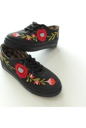 Brk Nakış İşlemeli Desenli Günlük Rahat Bayan Vans Ayakkabı