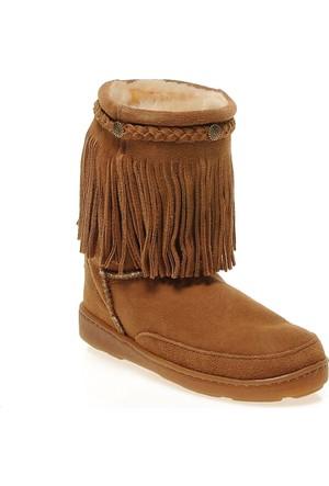 Minnetonka Fringe Classic Pug Boot 3551 Kadın Ayakkabı Golden Tan Sheepskın