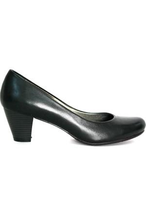 Akl Shoes Siyah Deri Alçak Stiletto