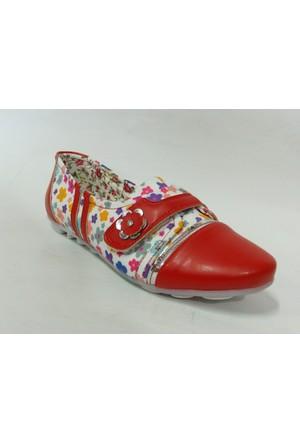 Punto 644179 Kırmızı Çiçek Desenli Çocuk Babet Ayakkabı