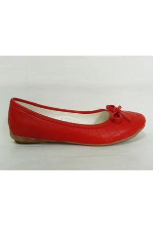 Punto 564308 Kırmızı Fiyonklu Kız Çocuk Babet