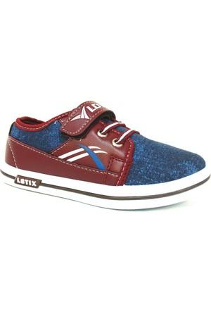 Lotix Bordo Lacivert Cırtlı Çocuk Ayakkabı