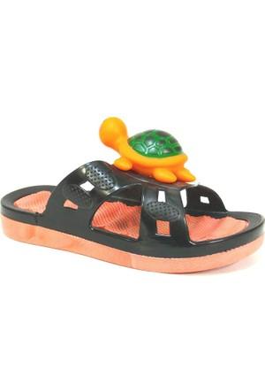 Gezer 8010 Siyah Turuncu Deniz Plaj Kumsal Çocuk Terlik