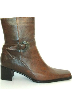 Oben 213 Kahverengi %100 Deri Fermuarlı Bayan Çizme