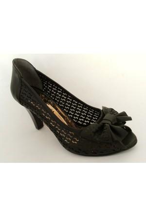 Meshure Siyah Topuklu Bayan Ayakkabı
