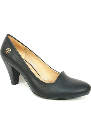 Topuz 001 Siyah Deri Topuklu Bayan Ayakkabı