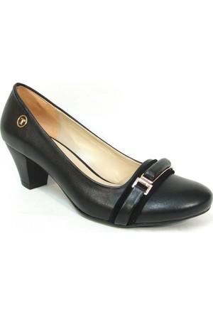 Topuz 073 5 Siyah Deri Topuklu Bayan Ayakkabı