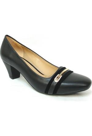 Topuz 089 5 Siyah Deri Topuklu Bayan Ayakkabı