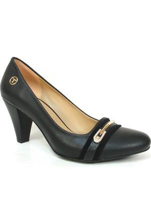 Topuz 089 7 Siyah Deri Topuklu Bayan Ayakkabı