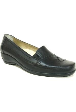 Fogs 6445 Siyah %100 Deri Ortopedik Bayan Ayakkabı
