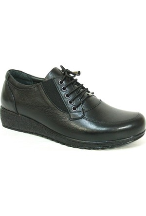 Fierro 1230 Siyah %100 Deri Ortopedik Comfort Bayan Ayakkabı