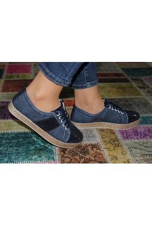 Feminant Fancy Keten Mavi Taşlı Ayakkabı