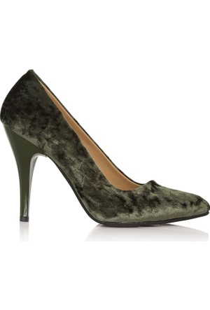 EsMODA Cc-010 Yeşil Kadife Kadın Topuklu Ayakkabı