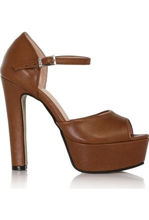EsMODA Cc-103 Taba Deri Kadın Platform Topuklu Ayakkabı
