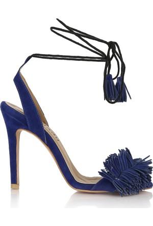 EsMODA Cc-105 Mavi Süet Klasik Topuklu Ayakkabı