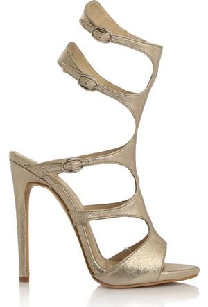 EsMODA Cc-1156 Altın Parlak Klasik Topuklu Ayakkabı