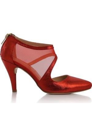 EsMODA Cc-191 Kırmızı Simli Klasik Topuklu Ayakkabı