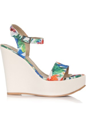 EsMODA Cc-1980 Beyaz Dolgu Topuklu Ayakkabı