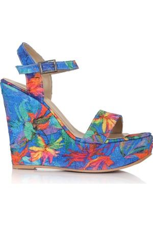 EsMODA Cc-1980 Mavi Dolgu Topuklu Ayakkabı