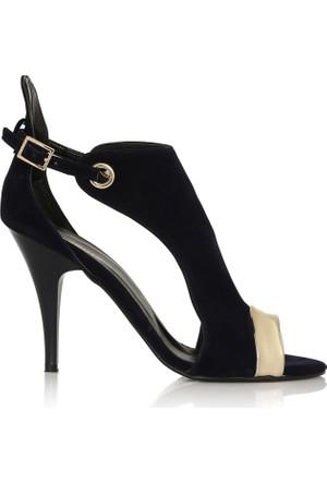 EsMODA Cc-3711 Lacivert Süet Altın Klasik Topuklu Ayakkabı