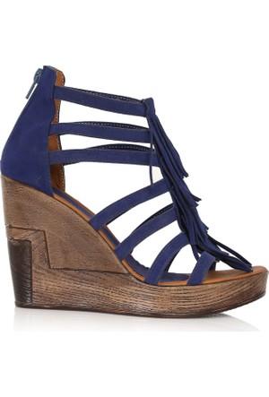EsMODA Cc-4061 Mavi Süet Dolgu Topuklu Ayakkabı