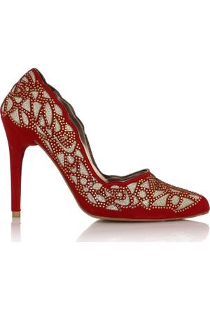 EsMODA Cc-4917 Kırmızı Süet Altın Kadın Taşlı Stiletto