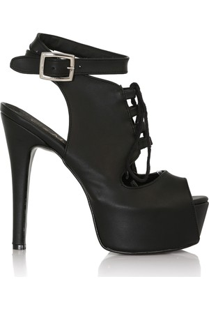 EsMODA Cc-530 Siyah Deri Kadın Platform Topuklu Ayakkabı