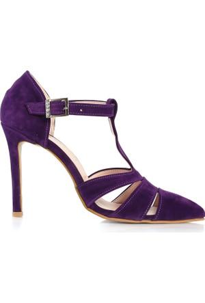 EsMODA Cc-713 Mor Süet Klasik Topuklu Ayakkabı