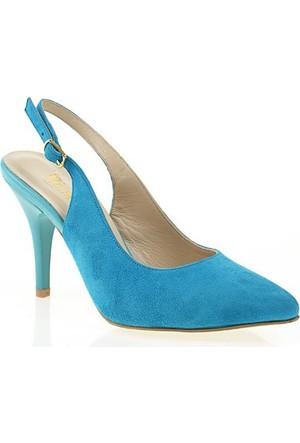 Nemesis Shoes Klasik Topuklu Ayakkabı Mavi Süet