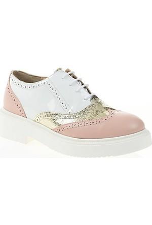 Nemesis ShoesCasual Ayakkabı Pudra Altın Beyaz Deri