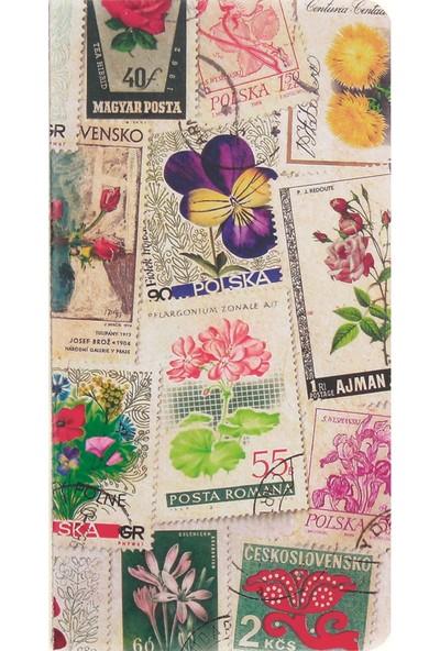 Postage Stamp / Flowers 11*21 30 Sayfa Terzi Dikişli 80 Gr. Ivory Çizgisiz Defter