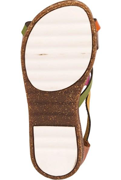 Polaris 71.509288.F Taba Kız Çocuk Deri Basic Sandalet