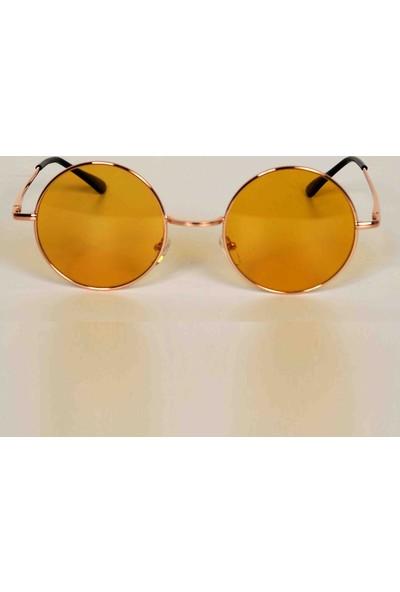Modaroma John Lennon Sarı Cam Unisex Güneş Gözlüğü