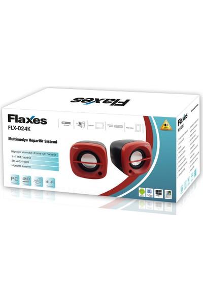 Flaxes FLX-024K USB 6 Watt 3W*2 1+1 Siyah Kırmızı Speaker