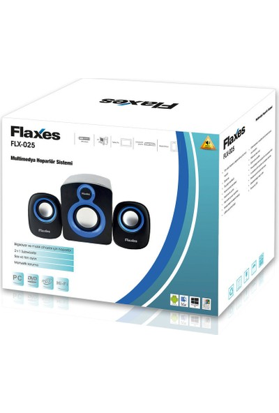 Flaxes 2+1 Subwoofer 11W 5W+3W*2W Multimedya Speaker Siyah Mavi