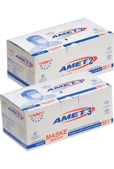 Amet 2 Tek Kullanımlık Hijyen Maskesi 2 Katlı 1 Paket / 50 Adet