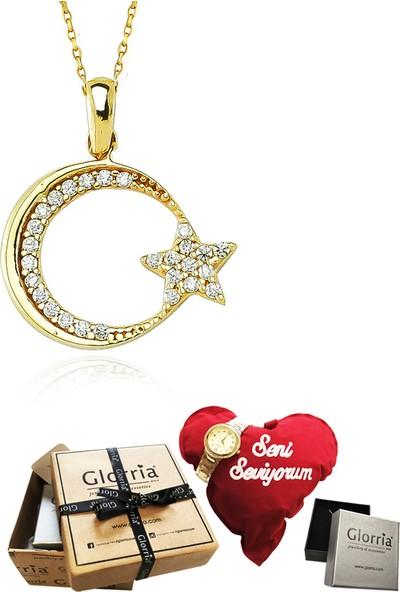 Glorria Altın Ay Yıldız Kolye - Hediye Seti