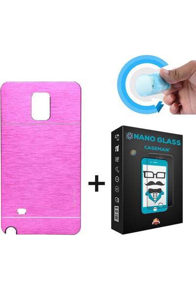 Case Man Samsung Galaxy Note 3 Kılıf Motomo Alüminyum Metal Kaplama + Nano Glass Ekran Koruyucu
