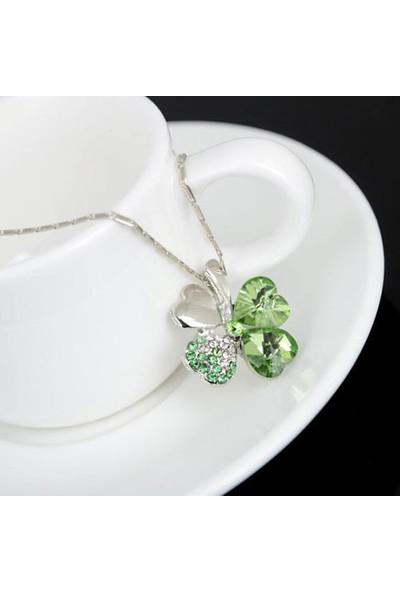 A-Leaf 4 Yaprak Yonca Şans Kolyesi Bayan Kolye Zirkon Şans Aşk Umut İnanç Sembolü Yeşil