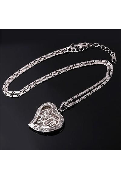 A-Leaf Kalp İçinde Allah Yazılı 925A Gümüş Kaplama Bayan Kolye Zirkon Taşlı