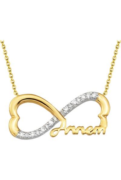 Goldstore Altın Sonsuz Sevgilerle Annem Kolye Gp41358