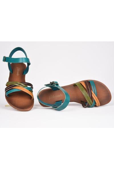 Eldorado Hakiki Deri Sandalet Renkli Günlük Esnek Şık