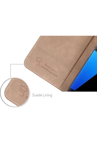 DC Galaxy S7 Luca Deri Mıknatıslı Kapaklı Kartlıklı Stand Kılıf