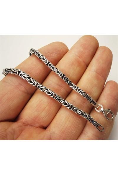 Osmanlı Gümüş Gümüş Kral Zincir Erkek Bileklik 3Mm Orta Kalınlıkta