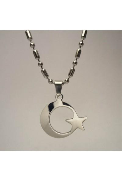 Osmanlı Gümüş 316L Paslanmaz Çelik Ayyıldız Bayrak Erkek Çelik Kolye